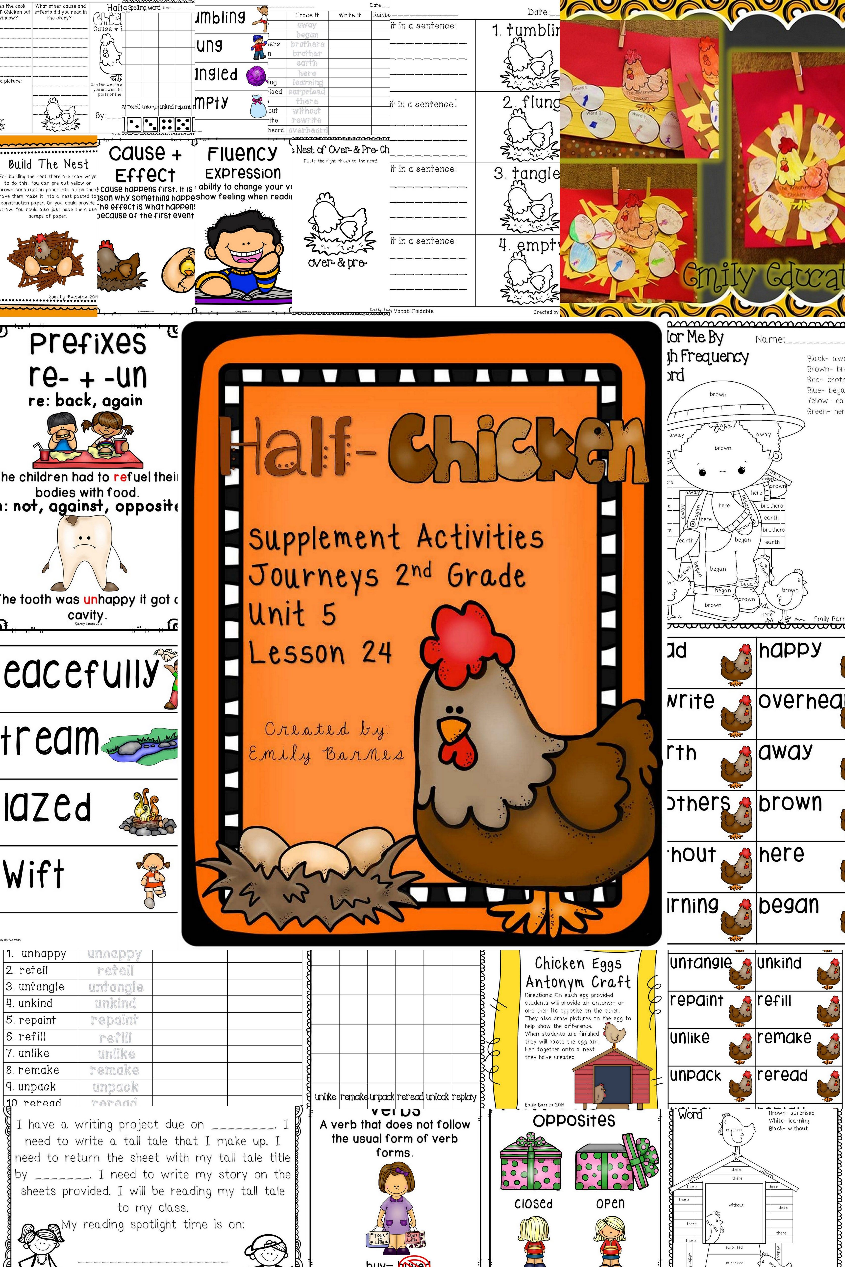 Half-Chicken Activities Journeys 2nd Grade Lesson 24 | Worksheets ...