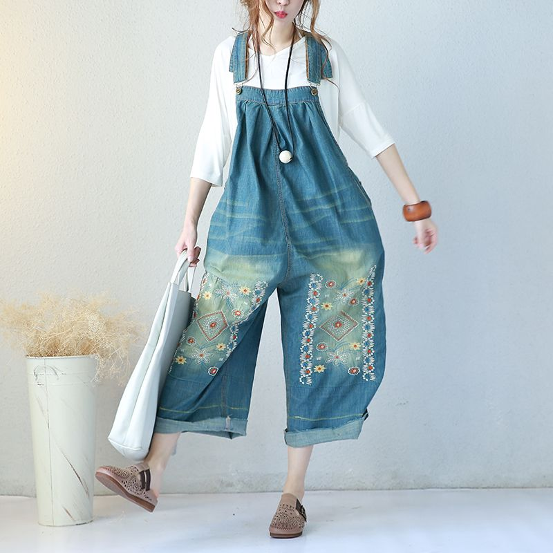 45d46a7120d8 Chinese Folk Embroidered Overalls Denim Wide Leg Jumpsuits  plussize  denim   overalls  flowers  floral  embroidered  jumpsuits  loose  rompers  soft