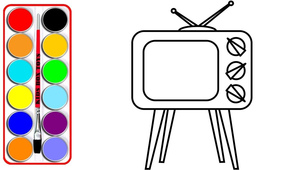 How To Draw A Television Coloring Pages For Kids Old Tv Drawing And Coloring For Children Coloring Pages For Kids Old Tv Coloring Pages