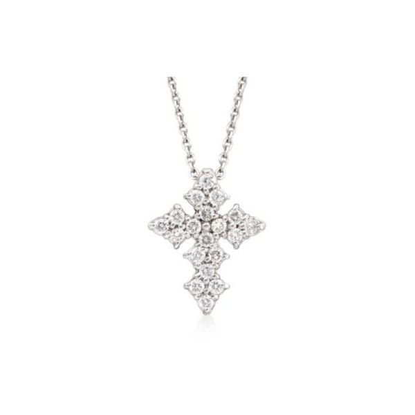"Roberto Coin .16ct t.w. Diamond Cross Necklace in Gold. 16"" ($980) ❤ liked on Polyvore featuring jewelry, necklaces, white gold, diamond necklaces, womens jewellery, gold diamond necklace, diamond cross necklace y yellow gold diamond necklace"