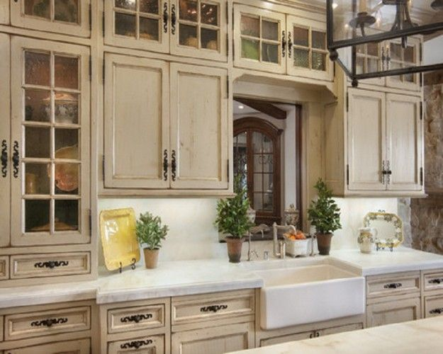 French Country Look Unique Glass Kitchen Cabinet With Seeded Glass