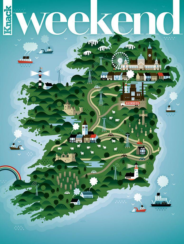 Mapa de Irlanda ilustrado via vizualizetumblrcom  Ireland by