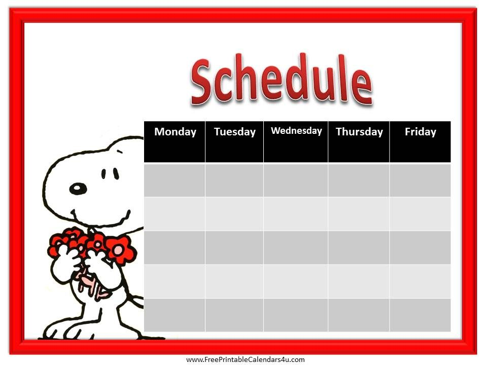 Snoopy Weekly Schedule  Printable Weekly Schedule