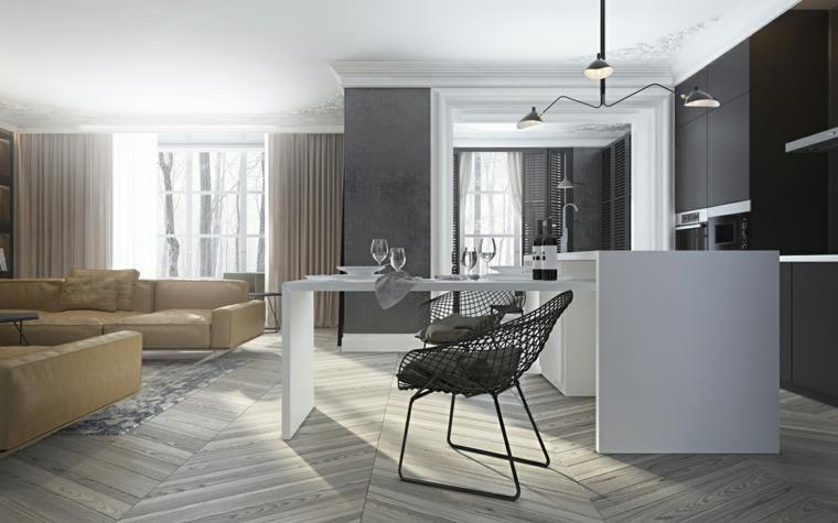 Dunkle Innenarchitektur \u2013 zwei Modelle moderner Häuser Haus