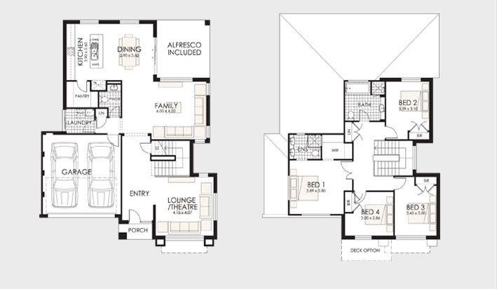 Planos de casas de dos pisos Dos pisos, Casas de dos pisos y