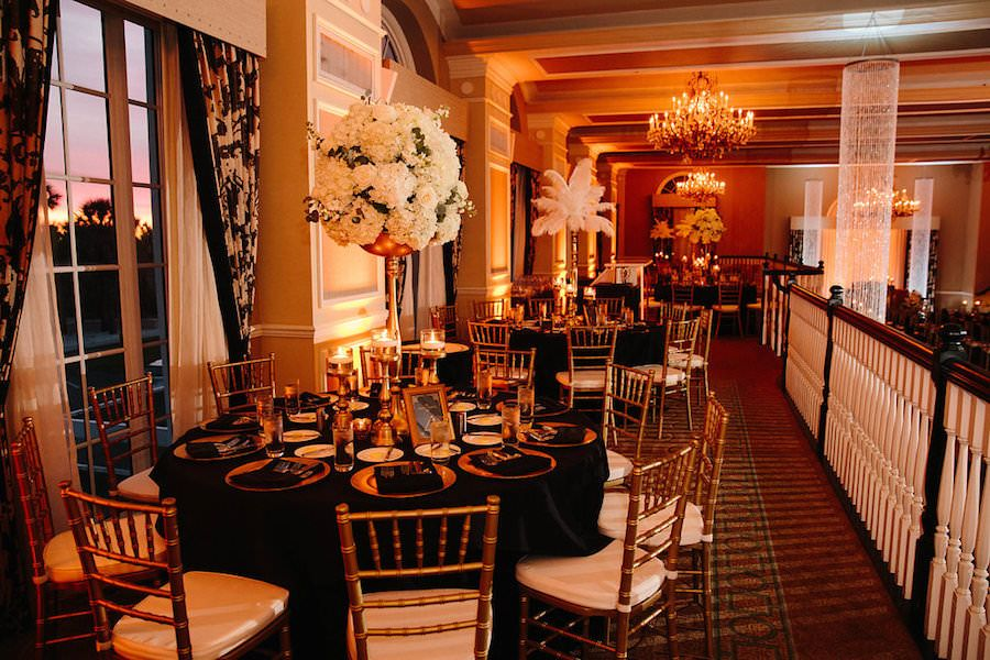 Ivory Black And Gold Wedding Reception With Linens Chiavari Chairs