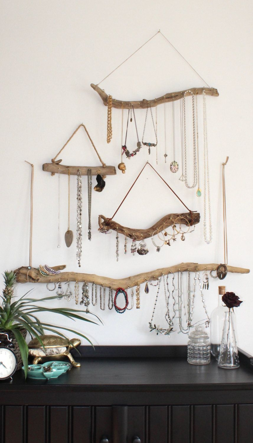 Driftwood Jewelry Organizer - Made to Order Jewelry Hangers - Pick the Driftwood - Boho Decor Storage Jewelry Holder Hanging Jewelry Display #bohobedroom
