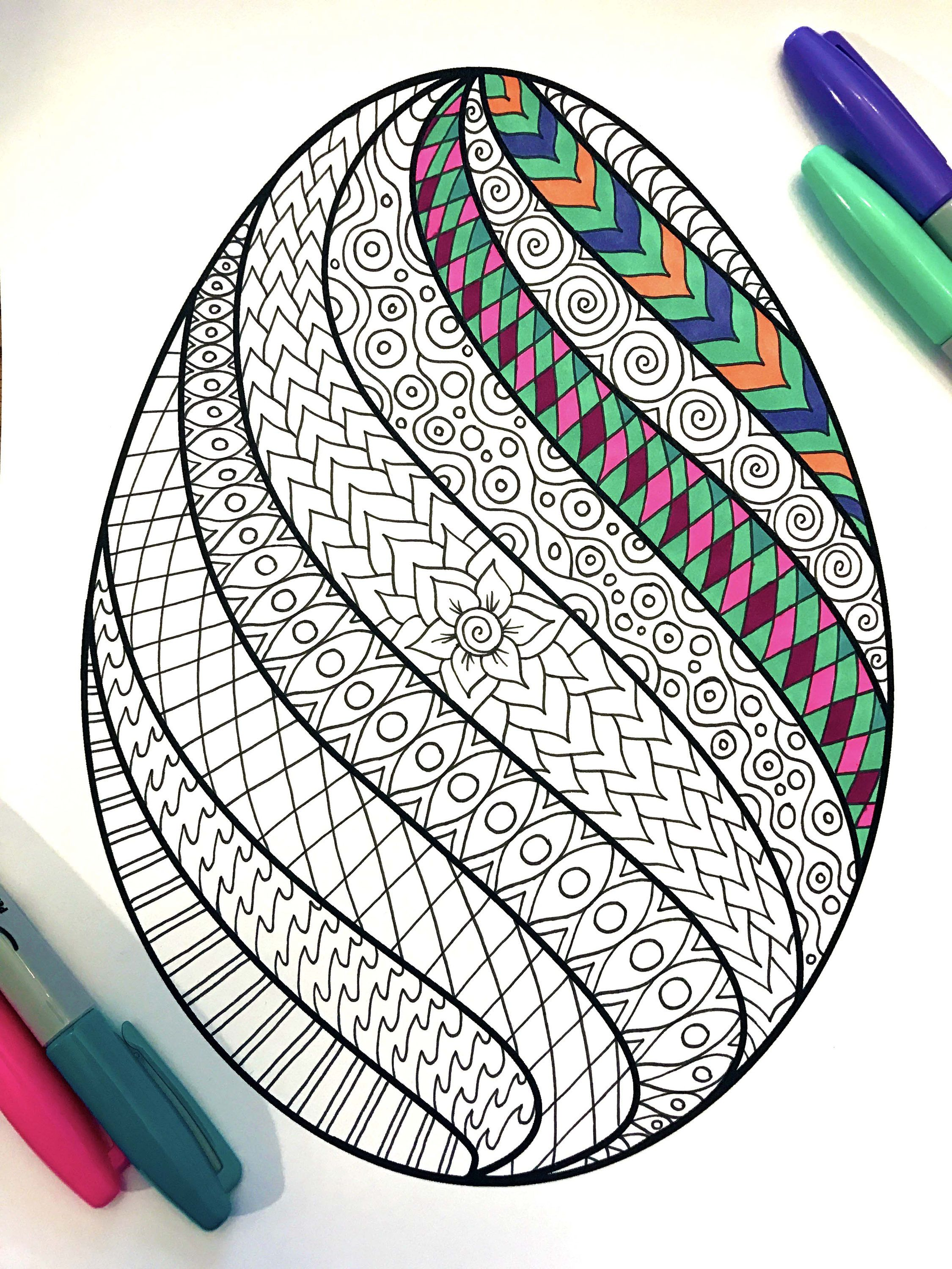 85x11 PDF Coloring Page Of An Easter Egg With A Swirl Design This Is