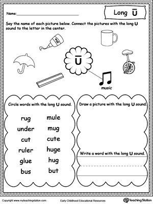 Long U Sound Worksheet Phonics Worksheets Pinterest Long