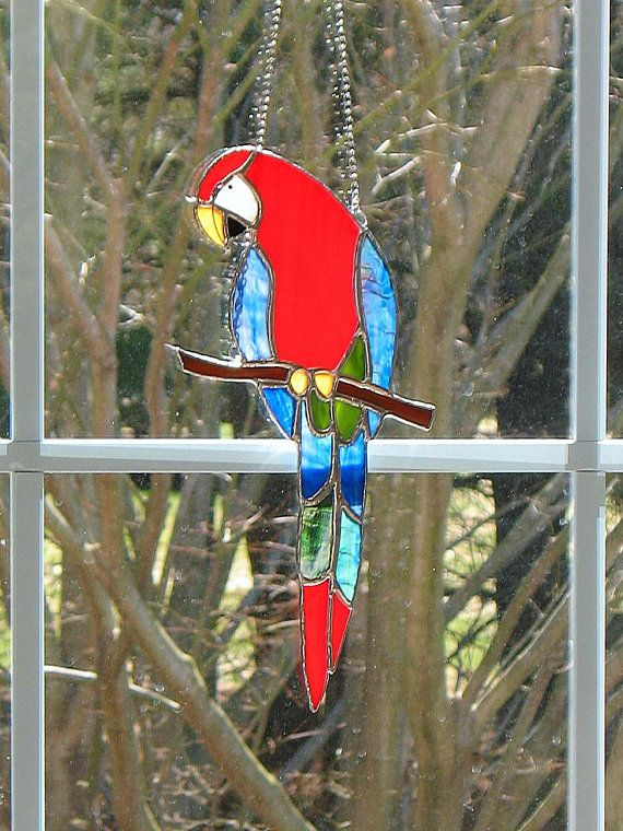 Large Parrot Macaw Stained Gl Window Hanging Suncatcher