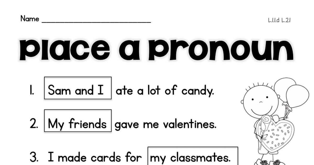 pronoun.pdf Second grade teacher, School worksheets