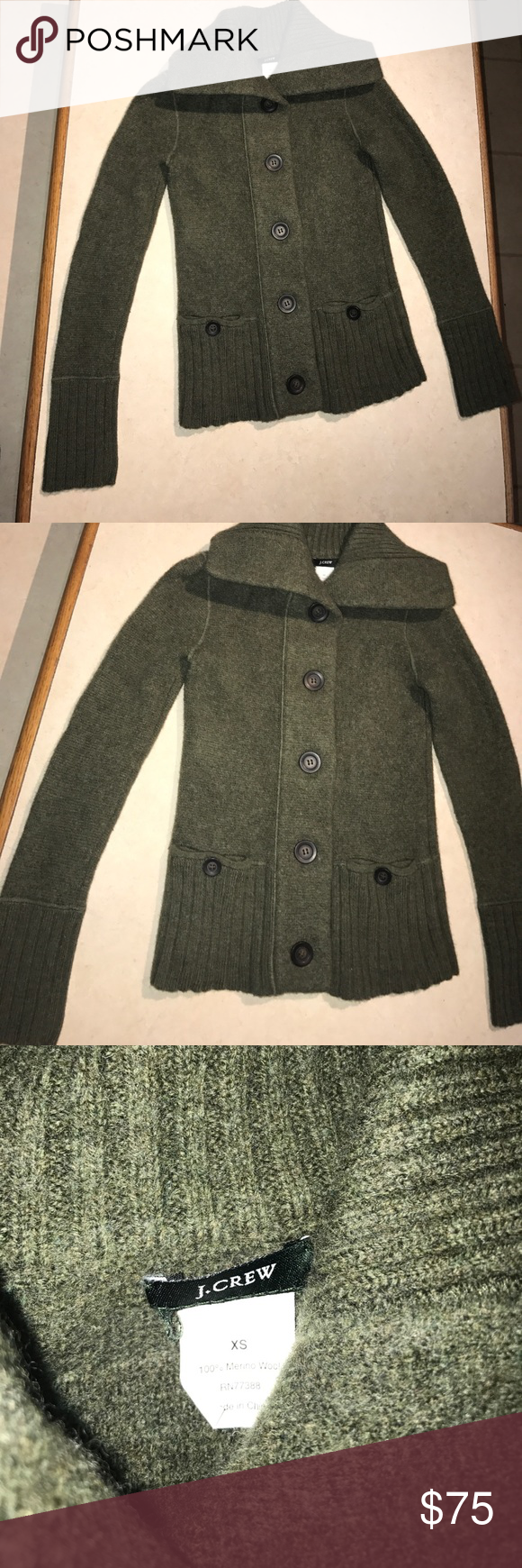 100% merino wool coat J. Crew 100% Merino wool coat size xs brand is J. Crew olive green color. Excessively warm. No flaws. J. Crew Jackets & Coats