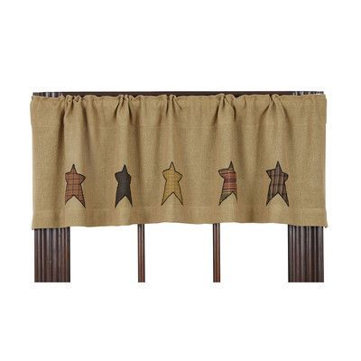 VHC Brands Stratton Burlap Applique Star Curtain Valance