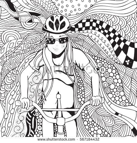 young girl riding a bike at high speed coloring book page for adult black