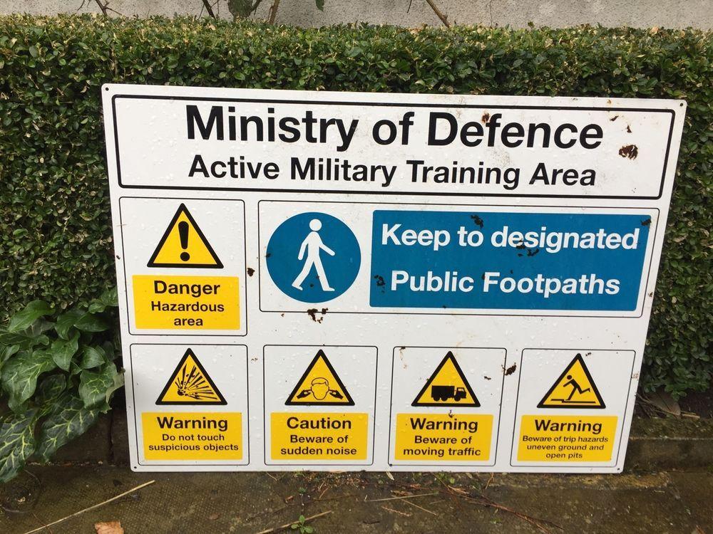 Old Enamel Sign MoD Warnings Military US American Base Boundary ...