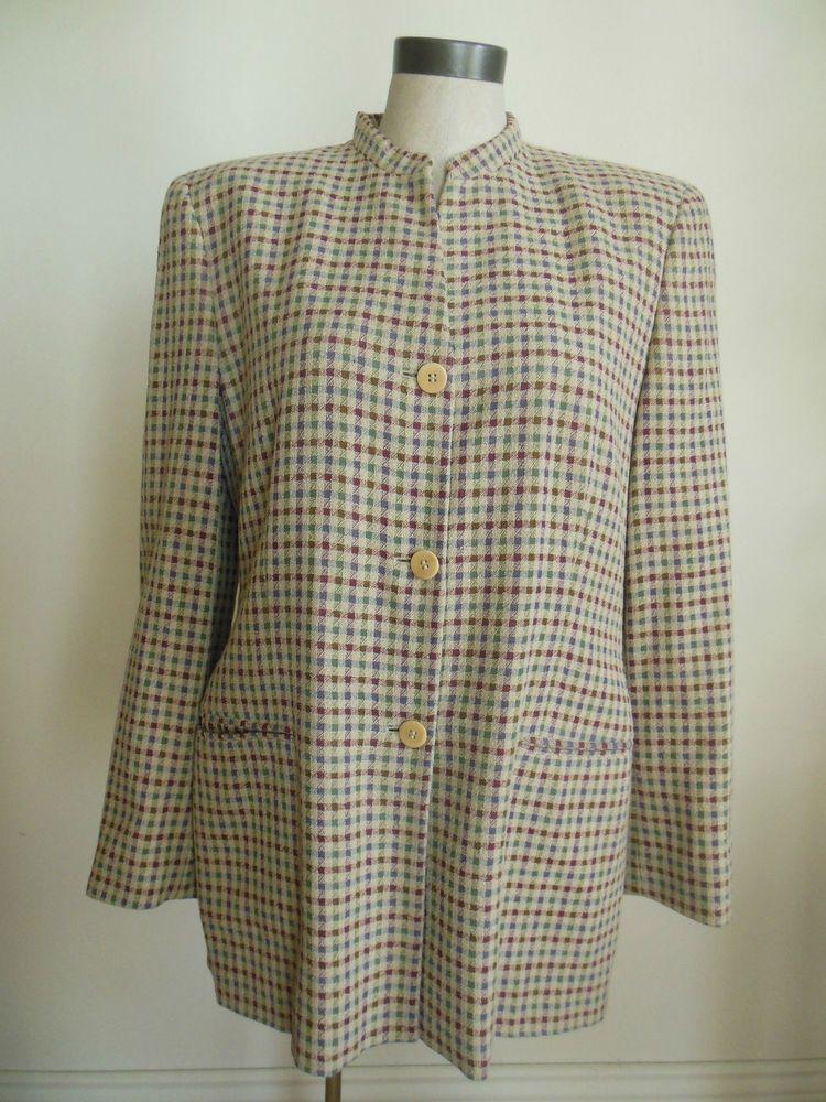 dca3711be325 Giorgio Armani A Milano Borgonuovo 21 Womens Wool Plaid buttons Jacket size  48   eBay