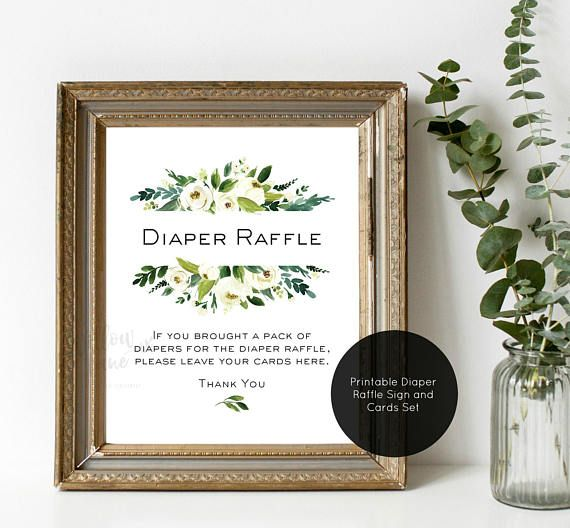 Baby Shower Game Diaper Raffle Cards And Sign Diaper