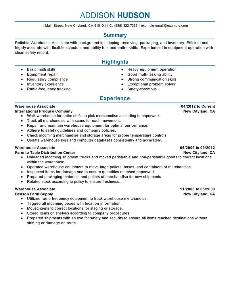 Warehouse Associate Resume Example Free Resume Templates Good Resume Examples Resume Writing Services Sales Resume Examples