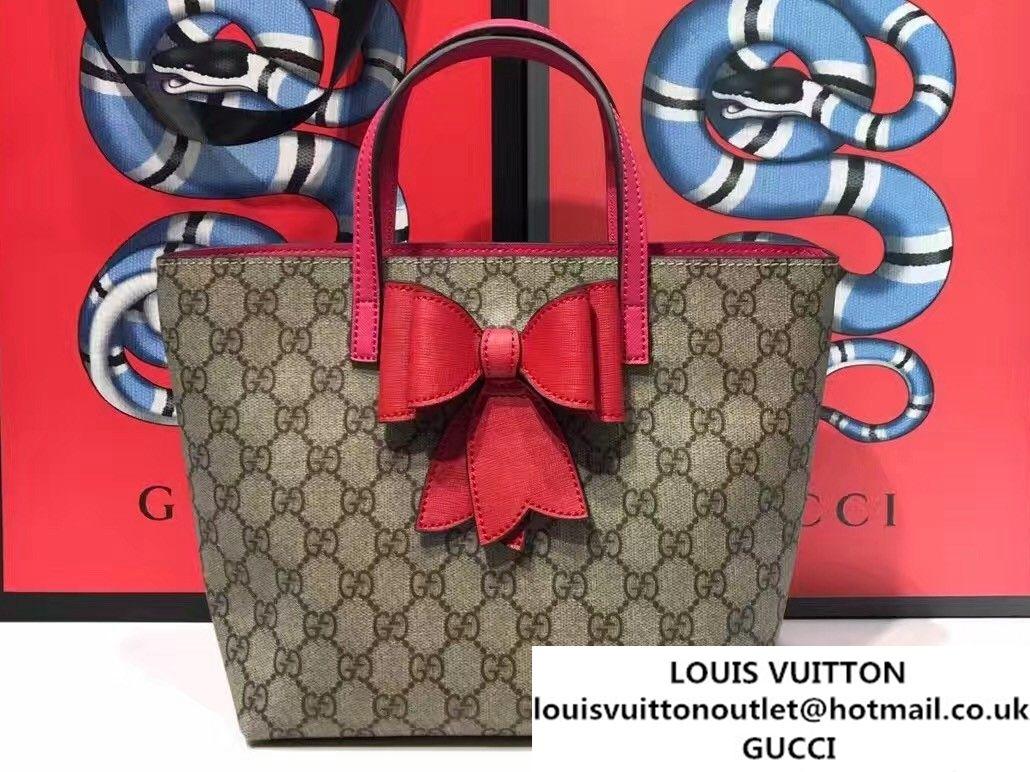 1bcb5304118 Gucci Children S GG Supreme Canvas Bow Tote Bag 457232 Red 2017 ...