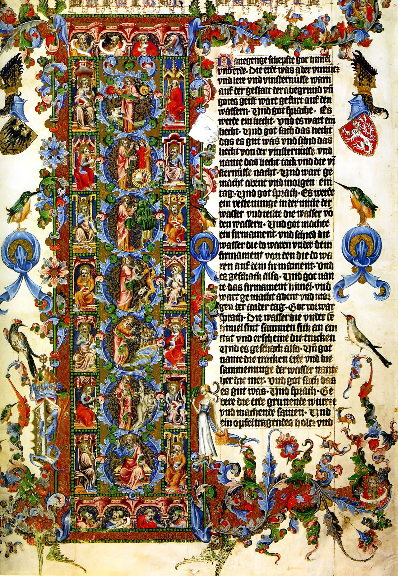 The letter L ~ Genesis, The Wenceslas Bible (1389). Wenceslaus IV of  Bohemia (1361-1419) is known for the Wenzel Bible, an illuminated  manuscript, ...