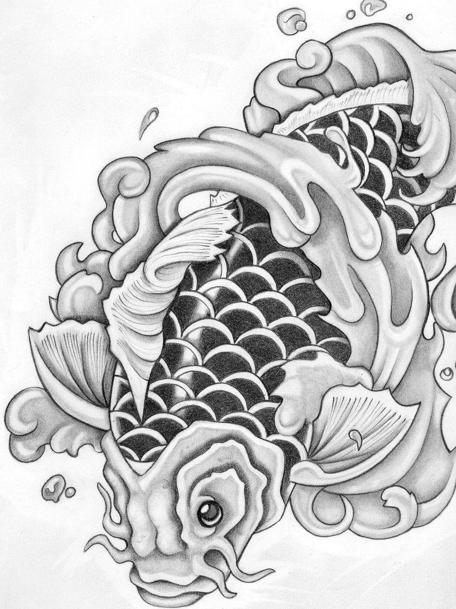 Japanese koi fish tattoo stencils car tuning koi for Koi fish stencil
