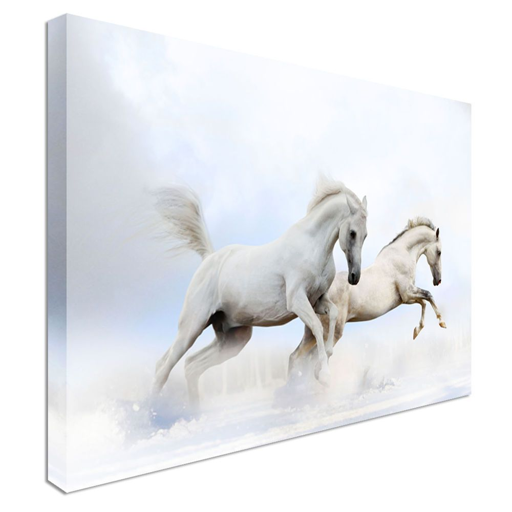 2 Running White Horses Canvas Wall Art Prints High Quality Great Value Horse Wall Art Canvases Wall Art Prints Art Prints