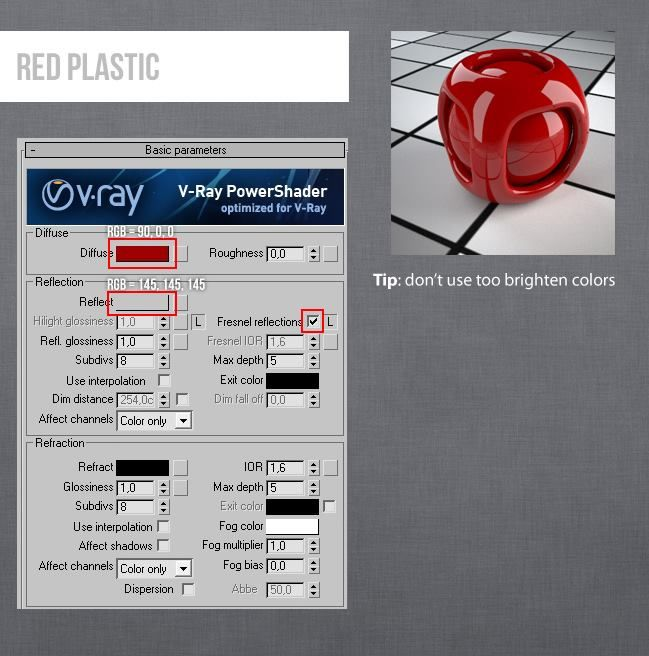 Vray materials red plastic v ray material pinterest 3ds max vray materials red plastic sciox Gallery