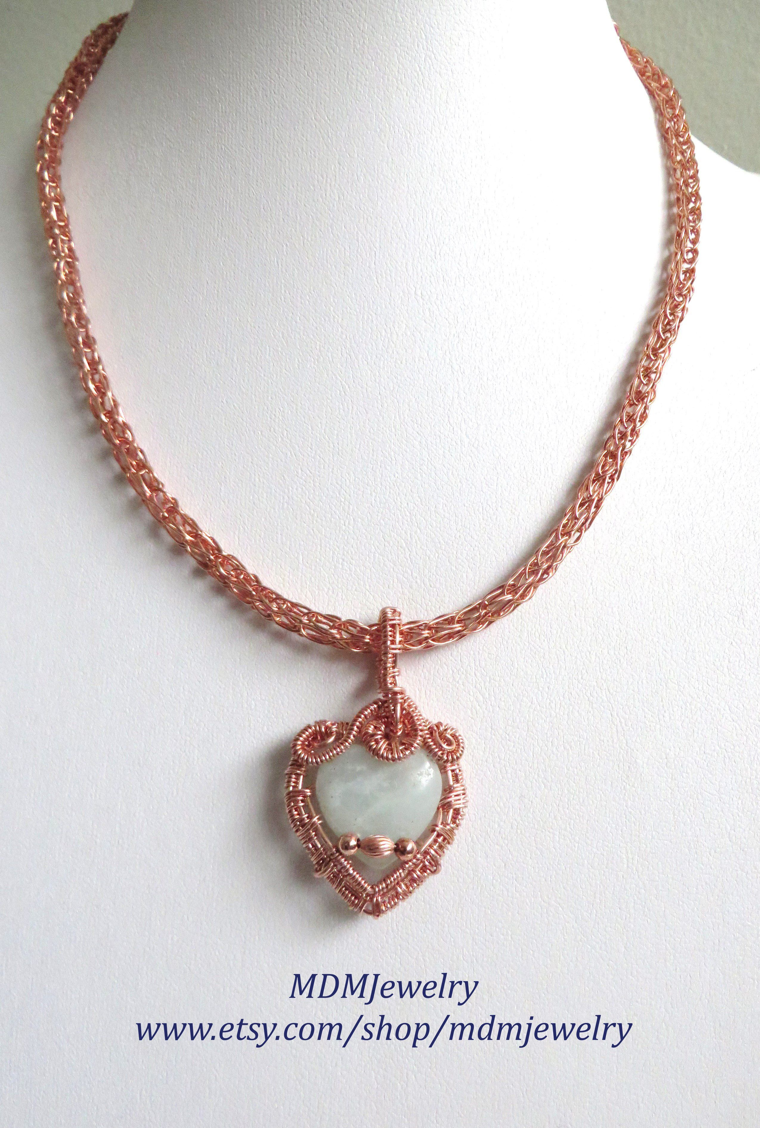 Viking weave necklace / Green Aventurine gemstone heart / Copper ...