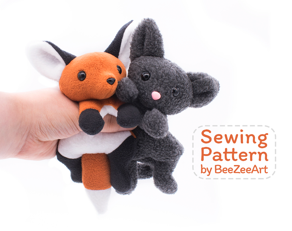 Fox and Cat Stuffed Animal Sewing Pattern - Digital Download ...