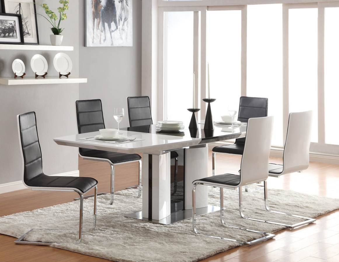 Broderick Shiny White Contemporary White Dining Set  Interior Unique White Dining Room Chairs Modern Inspiration Design