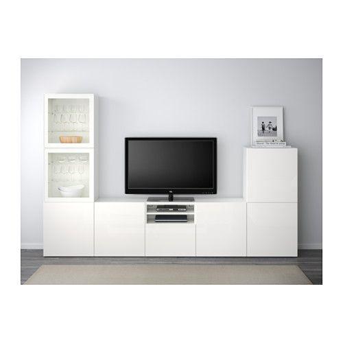 BESTÅ TV-Komb mit Vitrinentüren - weiß/Selsviken Hochglanz/Klarglas - Wohnzimmer Ikea Besta