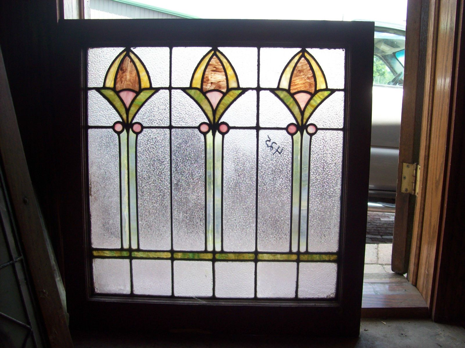 3 fig stained and textured glass window sg 1444 ebay