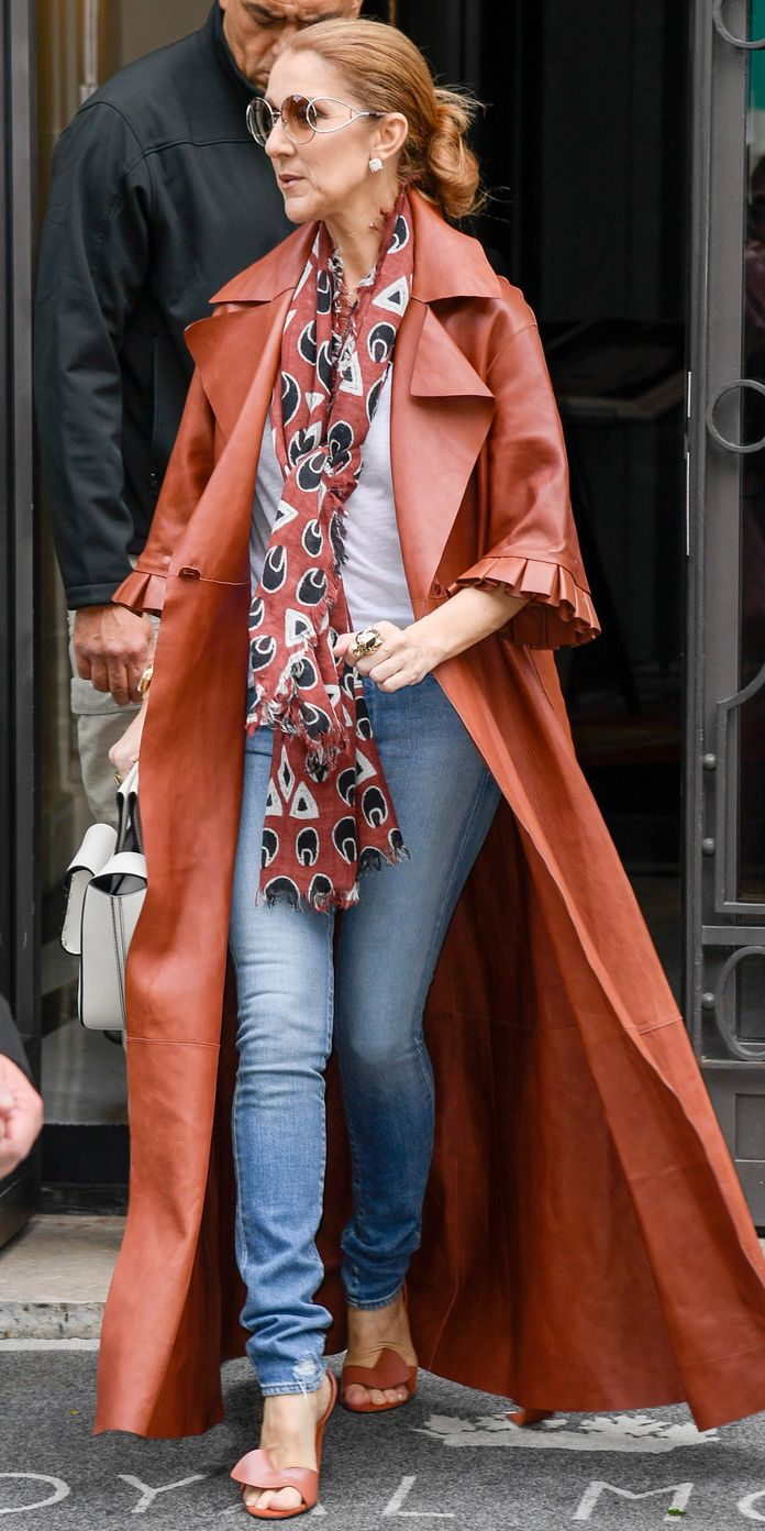 A Look At Celine Dion S Fabulous Fashion Transformation Fashion Celebrity Street Style Red Leather Coat