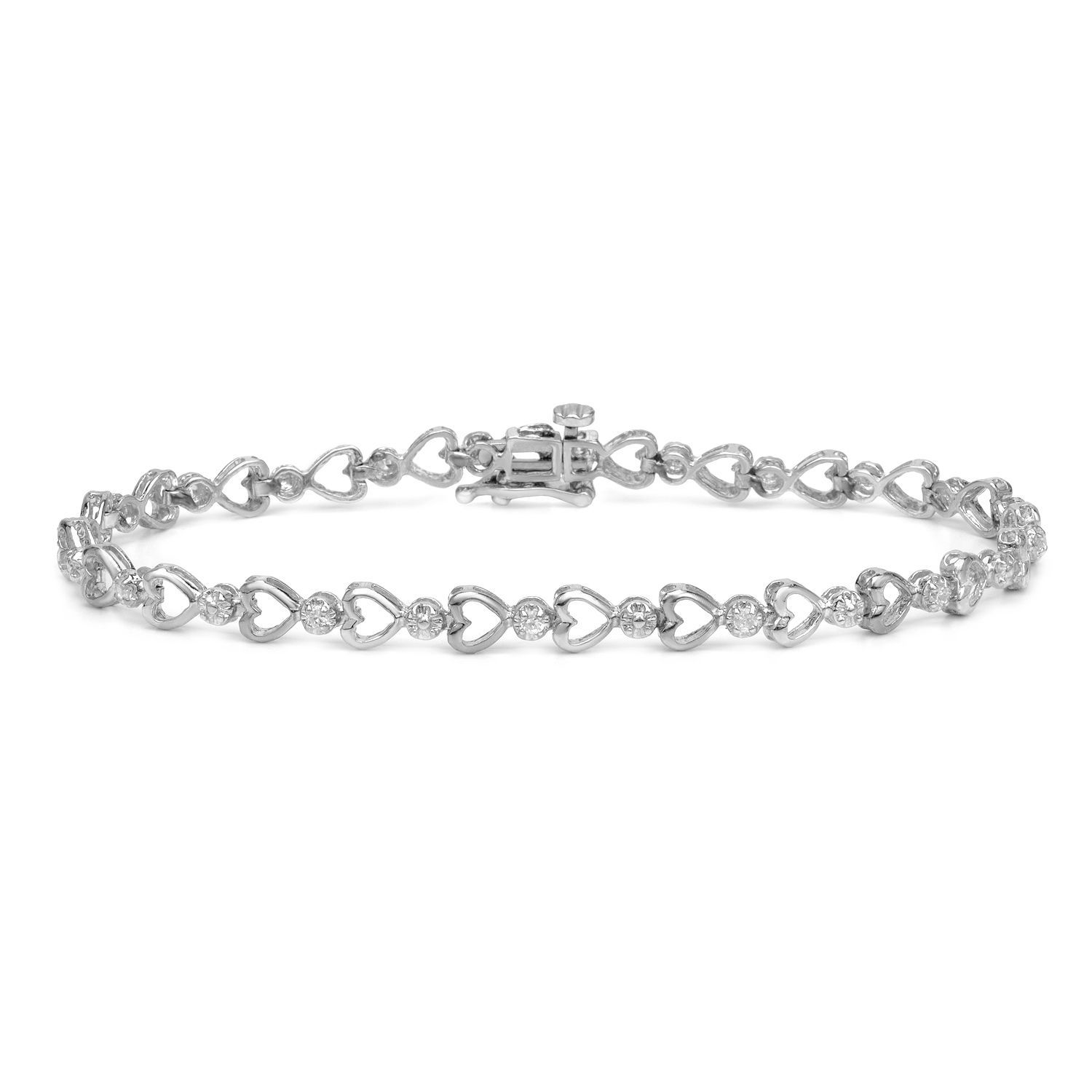 Auriya k white gold ct tdw heart diamond bracelet hi ii