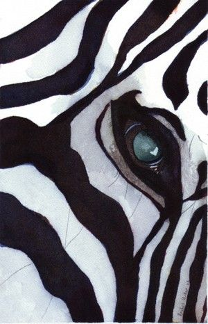Zebra Art Print of my watercolor painting Zebra Thoughts