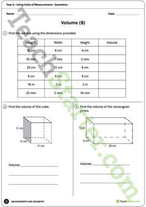 Using Units Of Measurement Worksheets Year 6 Mathematics