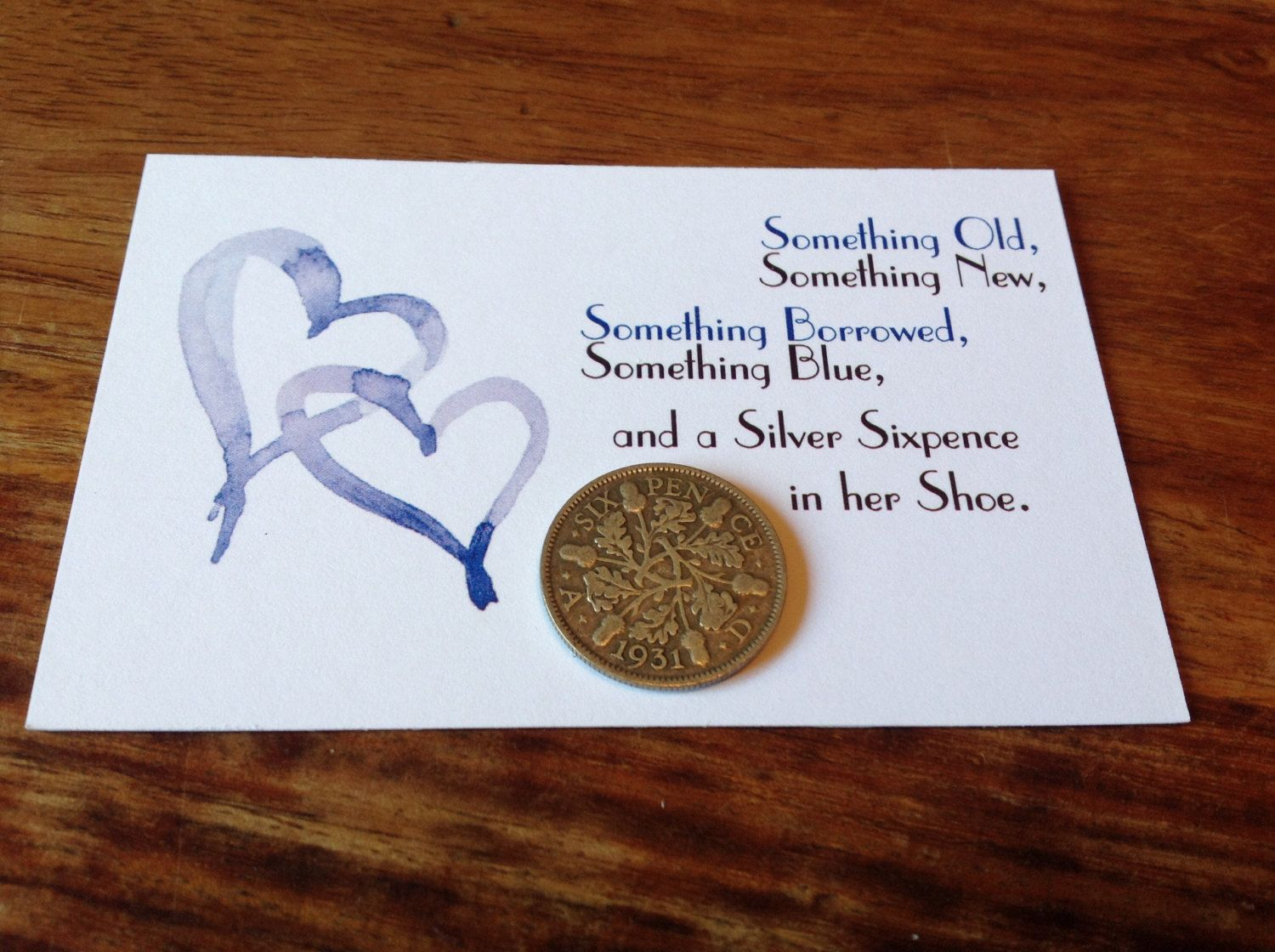Bride Wedding Something Old New Borrowed Blue Sixpence Gift