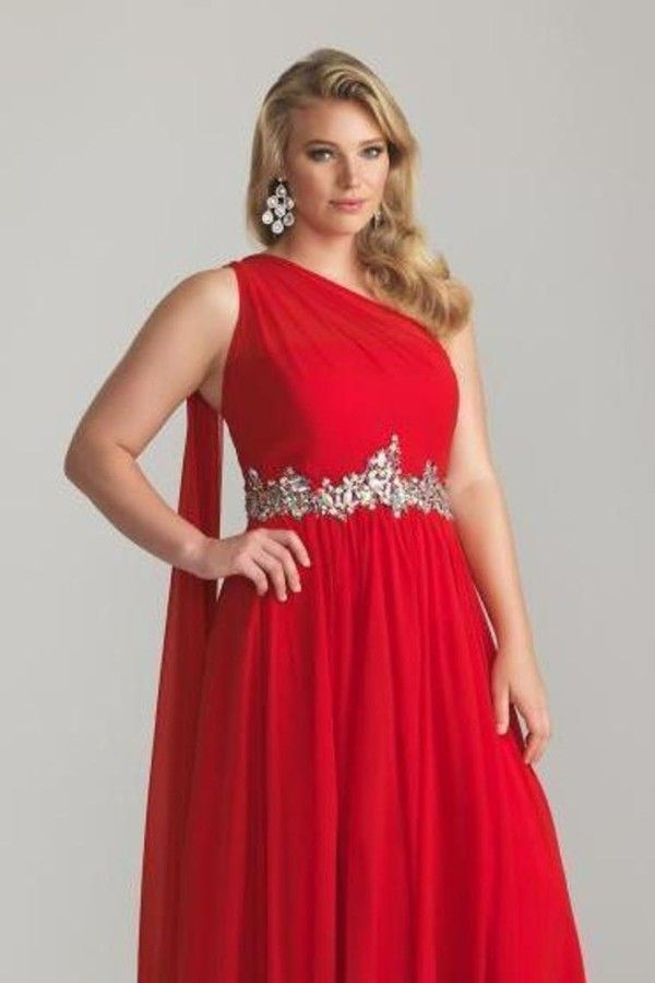 2016 Graceful Red Prom Dresses Plus Size A Line One Shoulder Empire Waist Ruffled  Chiffon Floor