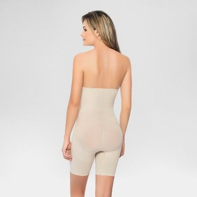 2a34c5995 Annette Women s Faja Extra Firm Control High Waisted Mid-Thigh Shaper with Invisible  Zipper - Beige XL
