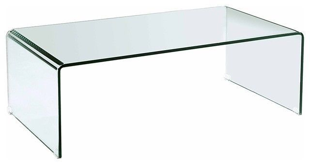 Reduced Freedom Glass Bent Curved Ghost Coffee Table Glass