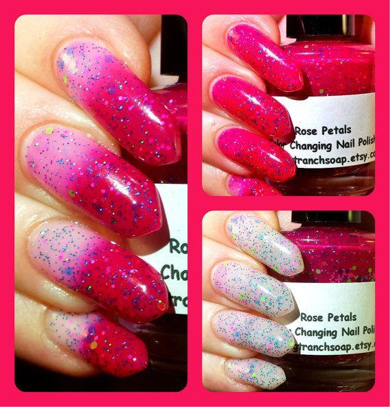 Color Changing Nail Polish- Glitter - Mood Nail Polish - Rose Petals ...