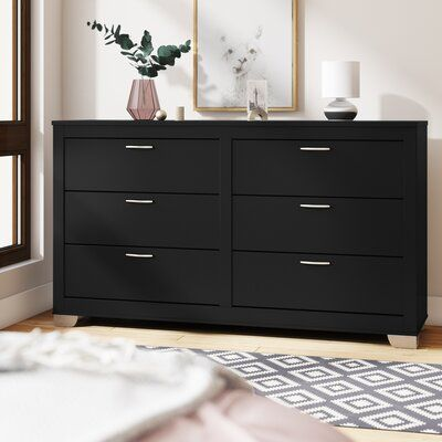 Latitude Run Louise 6 Drawers Double Dresser Wayfair In 2020 Black Dresser Bedroom Dresser Double Dresser