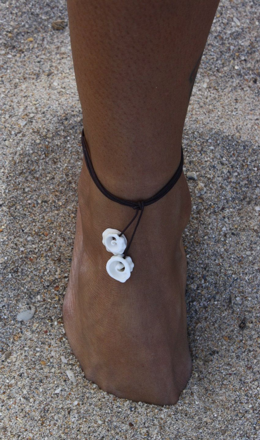 Conch Seashell Multi Use Black String Jewelry Anklet
