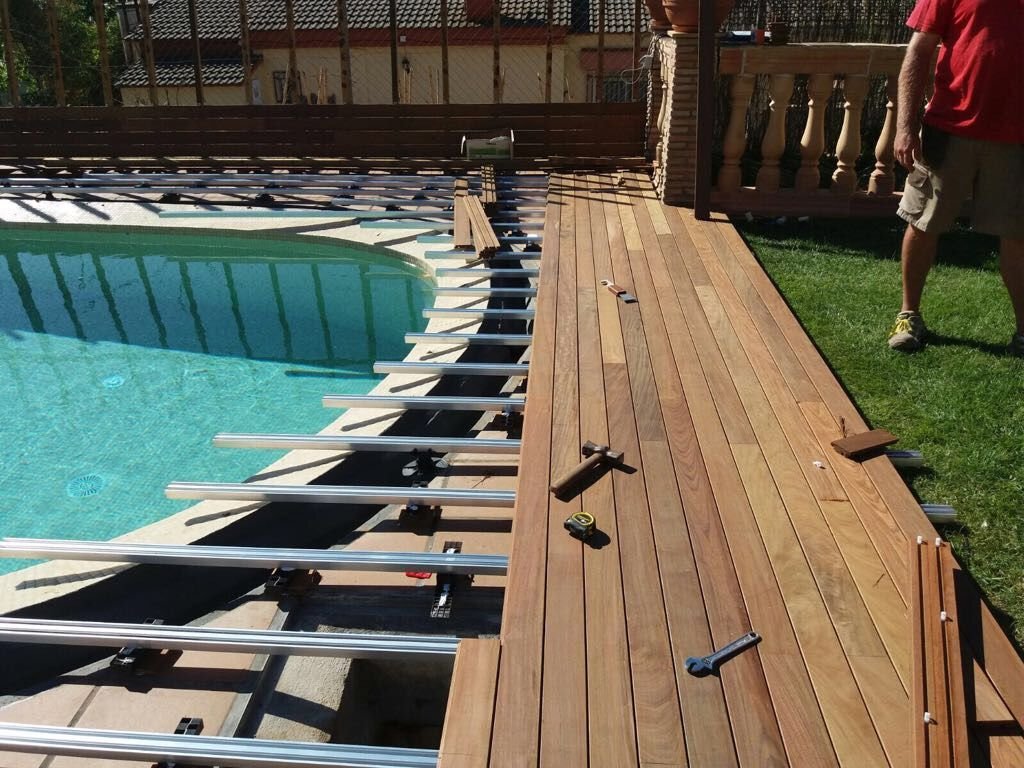 Hardwood Ipe Decking With Magnet Fixing System Onto Aluminium Joists Hardwood Decking Pool Summer Outdoor Patio Diy Wooden Pool Deck Exterior Solutions