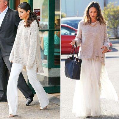 Selena Gomez and Jessica Alba Wear Same Chunky Sweater: Who Wore it Best?