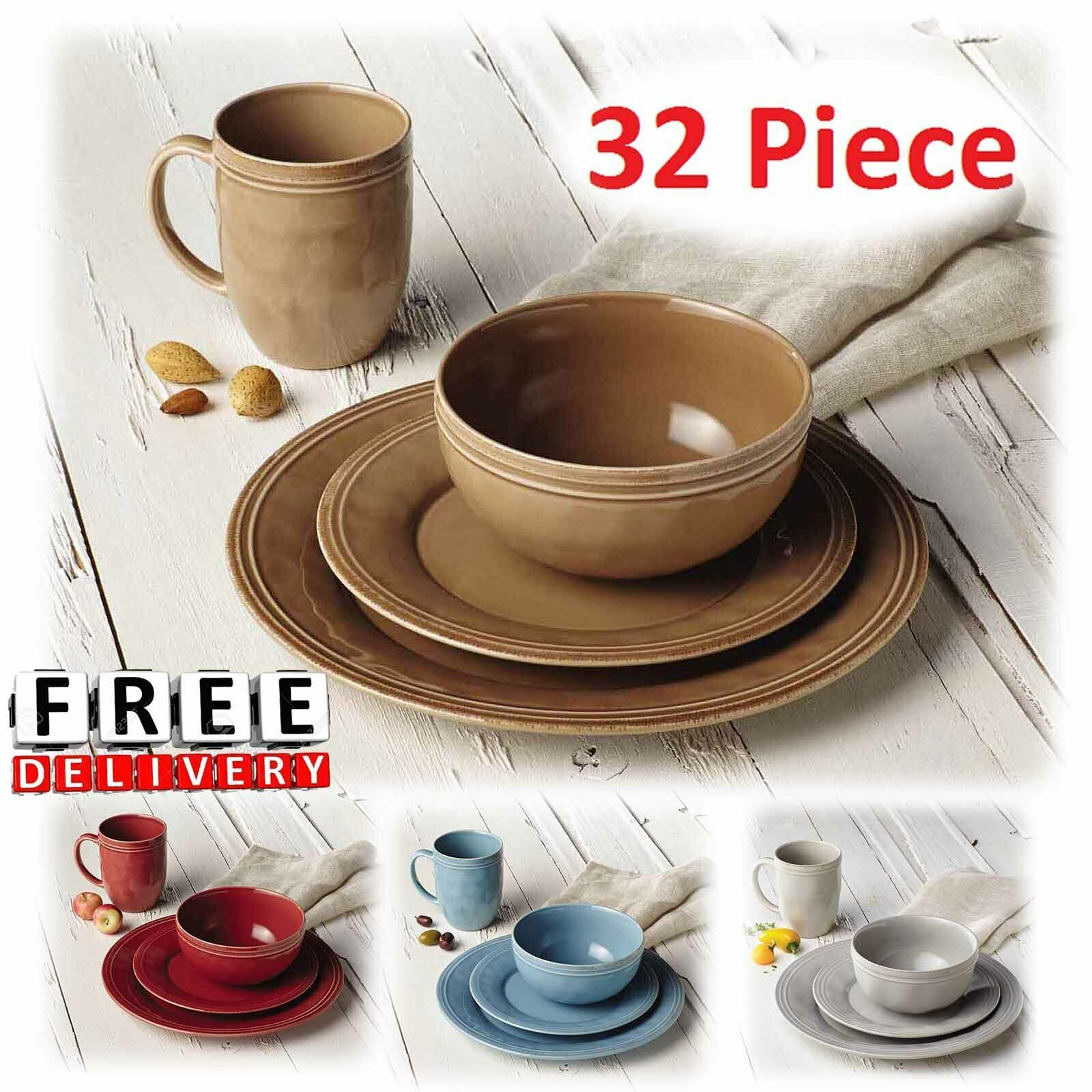 Round Dinnerware Set For 8 Stoneware Kitchen 32Pc Plates Bowls Dishes Mugs New  - Dinnerware - Ideas of Dinnerware #Dinnerware #casualdinnerware Round Dinnerware Set For 8 Stoneware Kitchen 32Pc Plates Bowls Dishes Mugs New  - Dinnerware - Ideas of Dinnerware #Dinnerware #casualdinnerware
