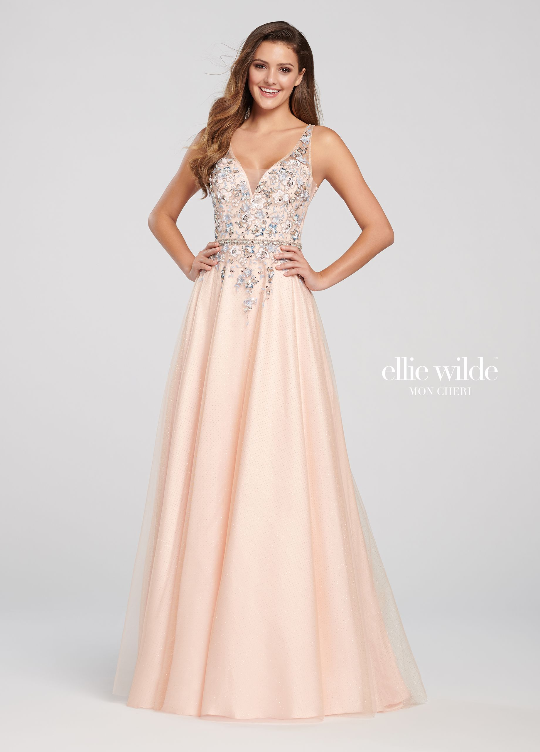 f3adbc9f Glitter Tulle V-Neck A-Line Prom Dress with a 3D Floral Bodice- EW119097