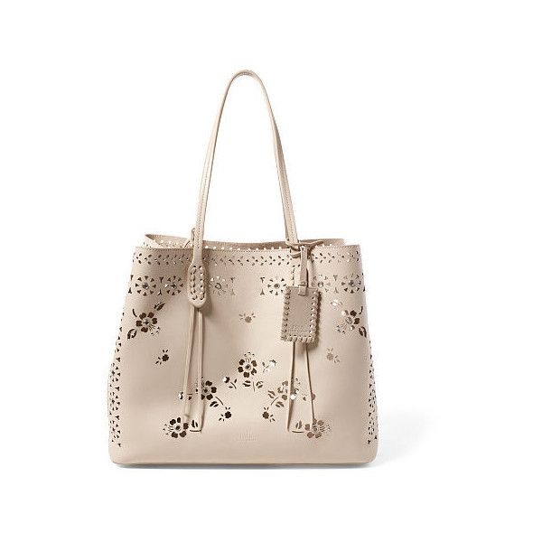 Polo Ralph Lauren Laser-Cut Floral Leather Tote (20,015 PHP) ❤ liked on 3d833ea7874