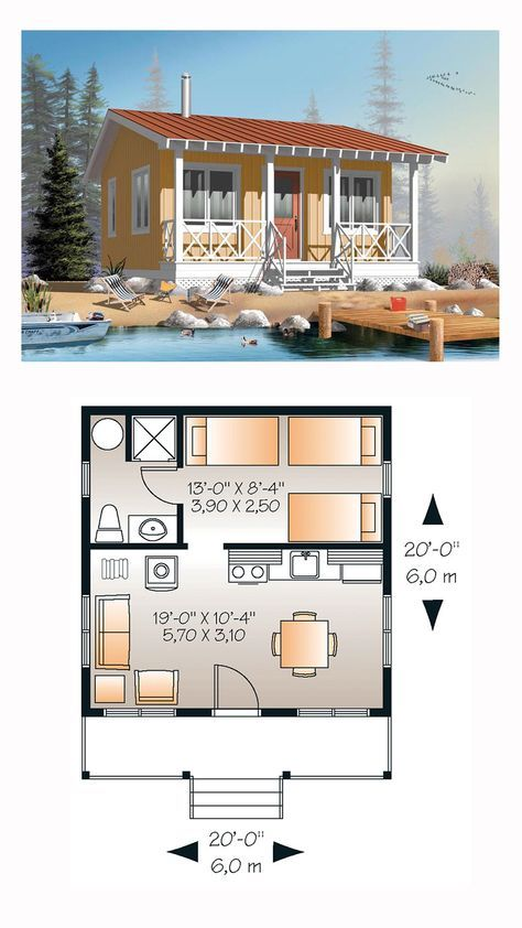 Cabin Style House Plan 76165 With 1 Bed 1 Bath Tiny House Floor Plans Tiny House Plans Small House