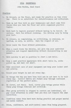 A List Of Basketball Practice Rules That John Wooden Ucla Head